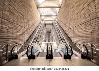 Copenhagen, Denmark - October 13, 2019: Interior view of the new metro station Nuuks Plads on the City Circle Line