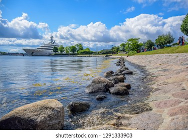 COPENHAGEN, DENMARK - OCTOBER 15: View over the Langelinie pier and promenade next to Langelinie park in central Copenhagen, Denmark where most cruise ships arriving in Copenhagen also berth at