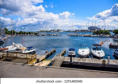 COPENHAGEN, DENMARK - OCTOBER 16: Yacht pier at harbor at the end of Langelinie pier in Copenhagen, Denmark