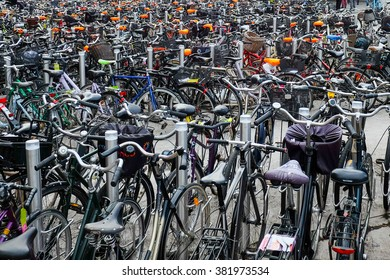 COPENHAGEN, DENMARK - OCTOBER 21, 2015: A lot of bikes in the centre of city Copenhagen.