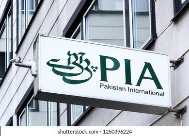 Copenhagen, Denmark, October 21, 2018: Pakistan international airlines logo on a wall. Pakistan International Airlines commonly referred by PIA is the national flag carrier of Pakistan