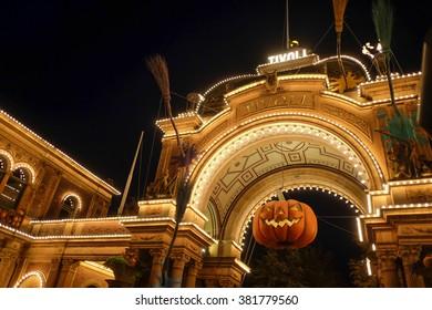 COPENHAGEN, DENMARK - OCTOBER 22, 2015: The entrance to the old Tivoli Park during the Halloween holiday