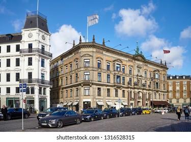 Copenhagen, Denmark - October 22, 2018: Taxi stand in front of CHANEL store at Kongens Nytorv street.