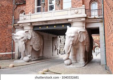 Copenhagen / Denmark - October 23, 2012: The Elephant gate at the Carlsberg brewery in Copenhagen, Denmark