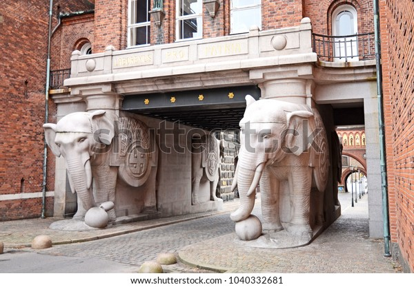 Copenhagen / Denmark - October 23, 2012: The Elephant gate at the Carlsberg brewery in Copenhagen, Denmark