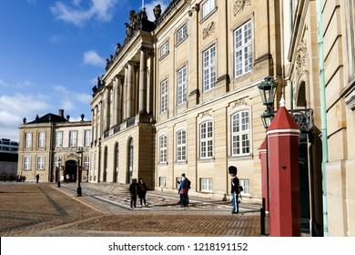 Copenhagen, Denmark, October, 27, 2018. Amalienborg Palace, the Queens residence.