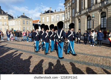 Copenhagen, Denmark, October, 27, 2018. The Royal Guard at Amalienborg Palace, the Queens residence.