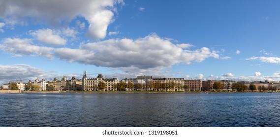 Copenhagen, Denmark - October 4, 2014: Panoramic view over Peblinge Lake. The Lakes in Copenhagen, Denmark are a row of three rectangular lakes.