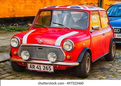 COPENHAGEN, DENMARK - OCTOBER 8, 2016: Mini Morris 1300 parked on the street in Copenhagen, Denmark