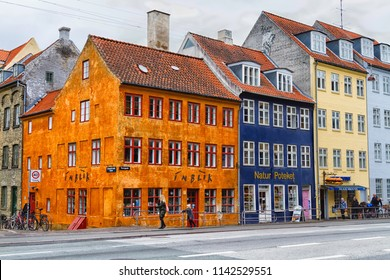 COPENHAGEN, DENMARK - OCTOBER 9, 2016:  Colorful tenements in Copenhagen, Denmark