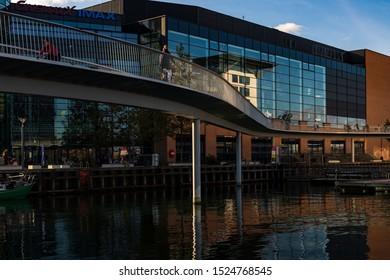 Copenhagen, Denmark - Oktober 7 2019: Cykelslangen (Bicycle Snake), pedestrian and bicyclist bridge