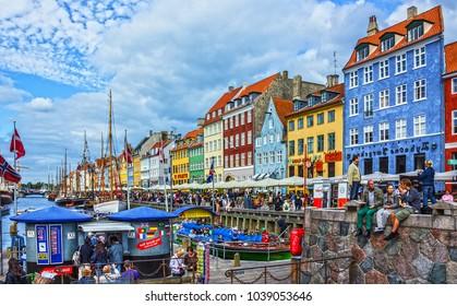 Copenhagen, Denmark - Sep 30, 2017: Embankment Nyhavn in the old town of Copenhagen.