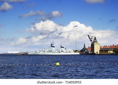 Copenhagen, Denmark - September 10, 2017: HDMS Peder Skram F352 was a Peder Skram-class frigate in the Royal Danish Navy which was in use until 1990. It is now docked at Holmen in Copenhagen, Denmark