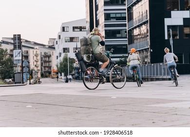 Copenhagen, Denmark - September 14, 2020 Different people get around by bike in Copenhagen. Developed infrastructure for cycling.