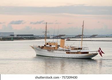 COPENHAGEN, DENMARK - SEPTEMBER 18: HDMY Dannebrog on September 18, 2017 in Copenhagen. The ship was launched in 1931
