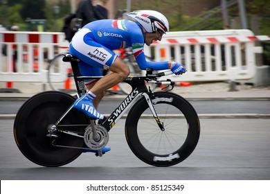 COPENHAGEN, DENMARK - SEPTEMBER 21: Marco Pinotti in action during the UCI World Championship for Elite Men in time trial 46.4 km on Sept. 21, 2011 in Copenhagen, Denmark. Tony Martin wins the event.