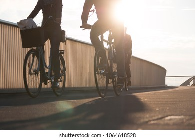 COPENHAGEN, DENMARK - SEPTEMBER 22 2017: Cyclists on bridge inde