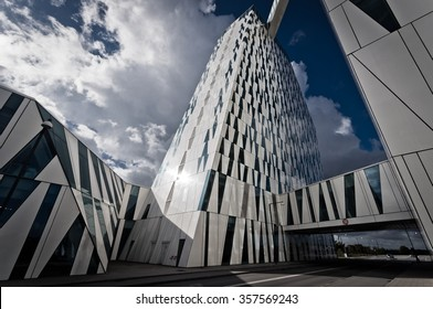 Copenhagen Denmark - September 25, 2014: The Bella Sky Comwell Hotel is a 4-star conference hotel adjacent to the Bella Convention and Congress Center in the Orestad district of Copenhagen, Denmark.