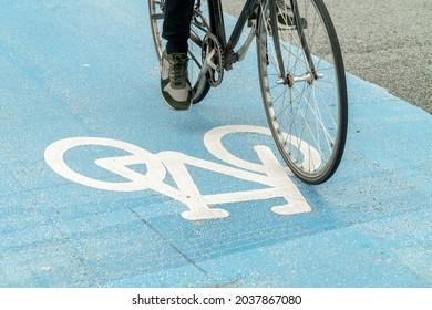 Copenhagen, Denmark. September 26, 2019:  Traffic sign on the bike path.