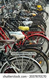 Copenhagen, Denmark. September 26, 2019: Stack of bicycles in the parking lot.