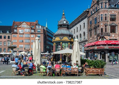 Copenhagen, Denmark - september 3, 2017: Nytorv (New Square) is a public square in the centre of Copenhagen. The square is dominated by the imposing Neoclassical facade of the Copenhagen Court House.