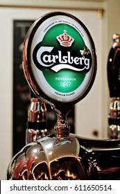 COPENHAGEN, DENMARK - SEPTEMBER 4, 2014 : Carlsberg beer tap at Tivoli Garden