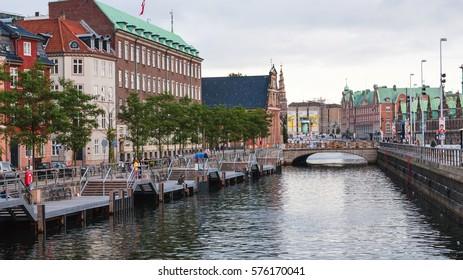 COPENHAGEN, DENMARK - SEPTEMBER10, 2011: view of Frederiksholms Kanal in Copenhagen city in autumn evening twilight. Frederiksholm Canal is a canal in central city, it was dug out in 1681