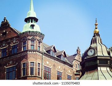 Copenhagen, Denmark - view of antique buildings in city center with the green copper domes characteristic of the city profile