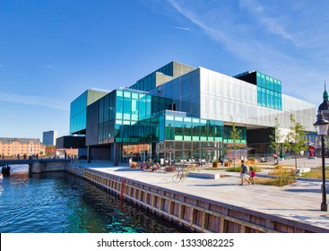 Copenhagen, Denmark-August 1, 2018: The BLOX building, a new prestige building for architecture and design on Christians Brygge in Copenhagen. (Also housing the Danish Architecture Centre)