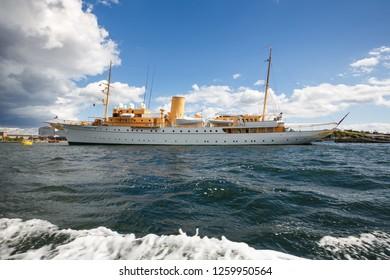 Copenhagen, Denmark-August 19, 2017 -  The Danish royal yacht Dannebrog at Nyholm island.
