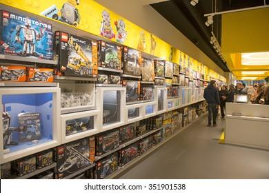 COPENHAGEN: DENMARK-DECEMBER 14, 2015: interior lego toy store in Copenhagen.