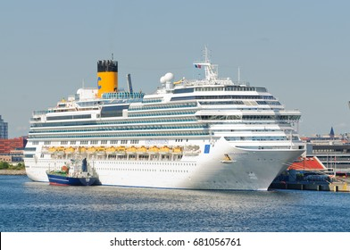 "Copenhagen, Denmark-July 15, 2017: ""Costa Favolosa"", a cruise ship at dock in Copenhagen harbor"