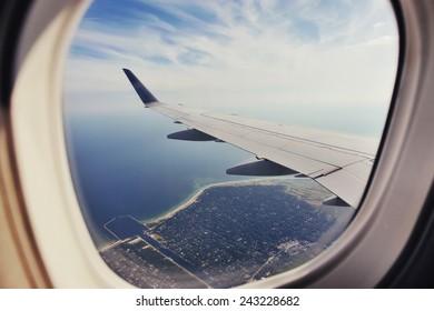 Copenhagen highangel view from plane.
