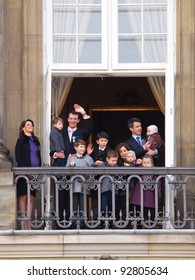 COPENHAGEN - JAN 15: Prince Frederik and Prince Joachim of Denmark and their families during the celebration of Queen Margrethe's 40th jubilee on January 15, 2012 in Copenhagen, Denmark.