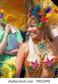 COPENHAGEN - JUNE 11: Participant in the 29th annual Copenhagen Carnival parade of fantastic costumes, samba dancing and Latin styles starts on June 11, 2011 in Copenhagen, Denmark.
