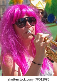 COPENHAGEN - JUNE 11: Participant in the 29th annual Copenhagen Carnival parade of fantastic costumes, samba dancing and Latin styles starts on June 11, 2011 in Copenhagen, Denmark.