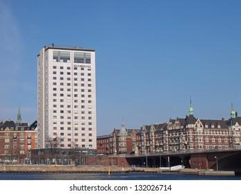 COPENHAGEN - MAR 16: Danhostel Copenhagen City, viewed from the east, on March 16, 2013. A five-star hostel and Europe's biggest city hostel centrally located in Copenhagen, Denmark.
