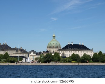 copenhagen marble church and Amalienborg Castle viewed from the Opera house