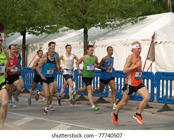 COPENHAGEN - MAY 21: Marten Bostrom from Finland, leads the more the 12,000 runners from 40 countries in the yearly Copenhagen Marathon. It covers a 42- kilometer route within Copenhagen, Denmark on May 21, 2011.