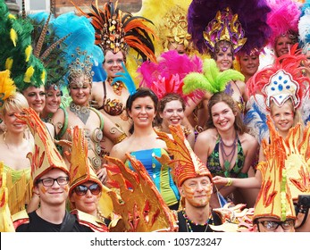 COPENHAGEN - MAY 26: Participants in the 30th annual Copenhagen Carnival parade of fantastic costumes, samba dancing and Latin styles on May 26, 2012 in Copenhagen, Denmark.