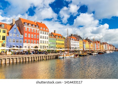 Copenhagen -  October 2018, Denmark: Cityscape of the Denmark Capital City. View of Nyhavn, most visited place and landmark in the old town