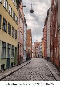 Copenhagen old cobbled streets, Denmark