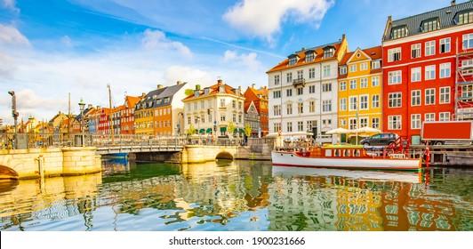 Copenhagen old town panorama, Nyhavn harbor, Denmark. Popular tourists attraction place in Copenhagen, nyhavn district