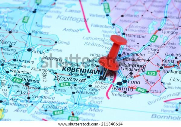 Copenhagen Map Europe.Copenhagen Pinned On Map Europe Stock Photo Edit Now 211340614