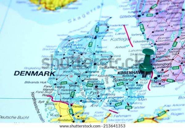 Copenhagen Map Europe.Copenhagen Pinned On Map Europe Business Finance Objects Stock