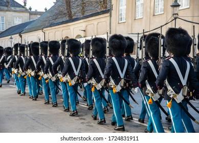 Copenhagen Royal Life Guards marching to Amalienborg Palace