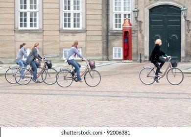 COPENHAGEN - SEPTEMBER, 10: bicyclists on square.Bicycling is important transportation in Denmark - 37% of the population ride their bikes each day, in Copenhagen, Denmark on September 10, 2011