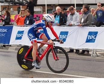 COPENHAGEN - SEPTEMBER 19: Elinor Barker, British junior cyclist at the UCI time trial championships in Copenhagen. September 19, 2011 in Copenhagen and Rudersdal, Denmark.