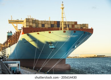 COPENHAGEN - SEPTEMBER 28, 2013: the Majestic Maersk, one of the largest container ships in the world, while at display at the Copenhagen harbour in Denmark