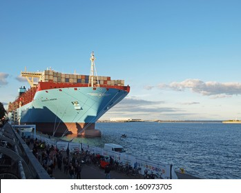 COPENHAGEN - SEPTEMBER 29: Majestic Maersk, one of the worlds largest container ship makes a once in a lifetime guest appearance at Copenhagen harbour in Denmark, on September 29, 2013.